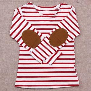 Toddler Kids Striped Long Tee - RED